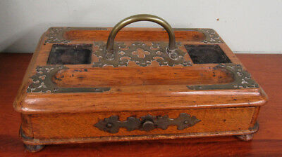 Antique Inkwell Desk Tray Ink Stand Standish Wood With Brass Hardware & Drawer