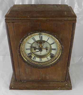 Antique Ansonia Open Escapement Ornate Clock Movement - Working Spares Or Repair
