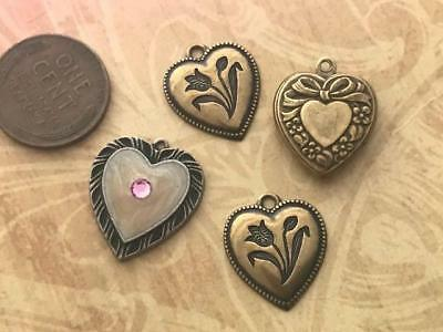 Vintage Fancy Metal Heart Charms Mix 4