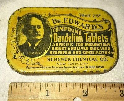 Antique Dr Edwards Dandelion Tablets Tin Litho Apothecary Medicine Can Remedy