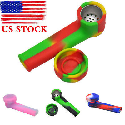 US Silicone Smoking Pipe with Cap Bowl Herb Cigarette Filter Hand Tobacco Holder