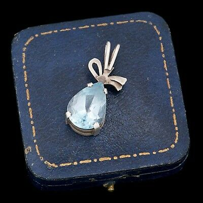 Antique Vintage Art Deco Retro Sterling 925 Silver Blue Topaz Necklace Pendant