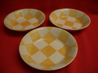 """3 Royal Stafford Painterly Affects~Chequers ~Yellow  6 3/4"""" Cereal/dessert Bowl"""