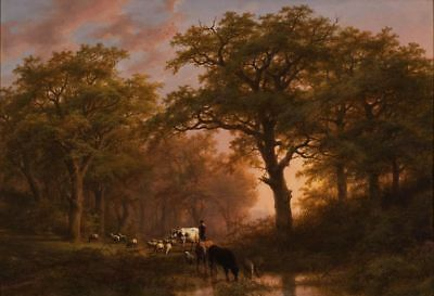 """oil painting handpainted on canvas""""Landscape with Cattle and Drover"""" NO9620"""