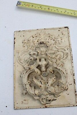 Rare Antique Vintage Cast Iron Victorian Large Door Knocker Mounted On Plaque