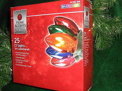 Christmas  Lights Multi Colors Large Bulbs, 25 on Green Wire, New Boxed, 24' 354