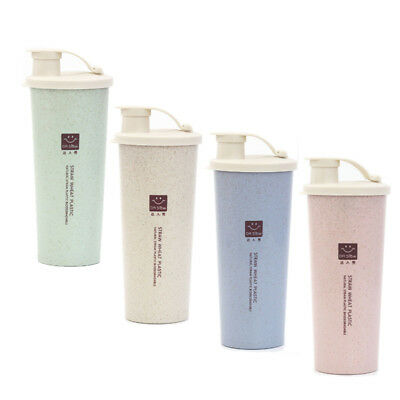 450ml water cup Travel Mug Office Coffee Water Bottle Cups Straw Wheat Plastlc