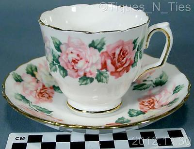 Vintage Crown Staffordshire England Fine Bone China Cup & Saucer Pink Roses (FF)