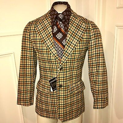 NEW Vtg 70s Vanderbilt Green Yellow PLAID Mens 40 Sport Coat Jacket Blazer NWT