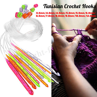 12Pcs 3.5-12mm Afghan Tunisian Crochet Hooks Set Needle 120cm Length Transparent