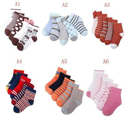 5 Pairs Baby Boy Girl Cotton Socks Newborn Infant Toddler Kids Warm Socks 1-5Y