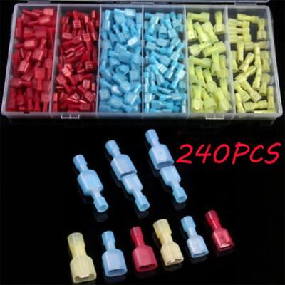 240pcs Assorted Insulated Electrical Wire Terminal Crimp Connector Spade Set Kit