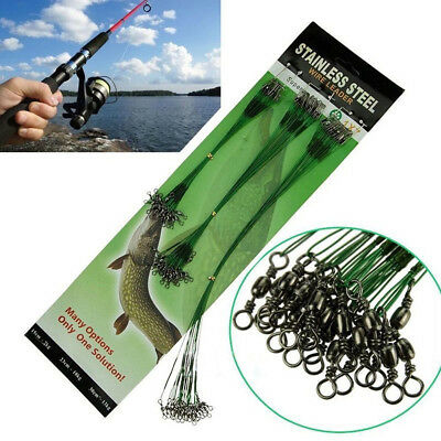 20PCS Card Rolling Swivels Safety Snap Fishing Lures Hook Traces Steel Wires