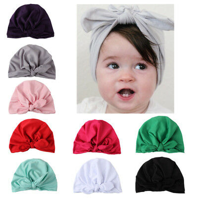 Kids Baby Girls Turban Bow Knot Head Wrap Bunny Rabbit Ear Hat Cotton Cap