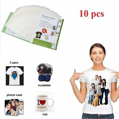 10 Sheets A4 Sublimation Heat Transfer Paper for Fabric Cotton T-Shirt Print UK