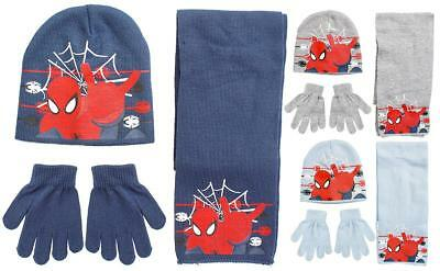 Boys Official Spiderman Winter Knit Beanie Hat Scarf & Gloves Set 3 to 12 Years