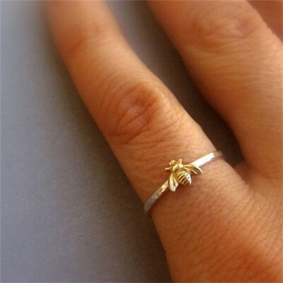 Women Lady Simple Tiny Gold Toned Bee Ring Hammered Band Stacking Rings Gift BS