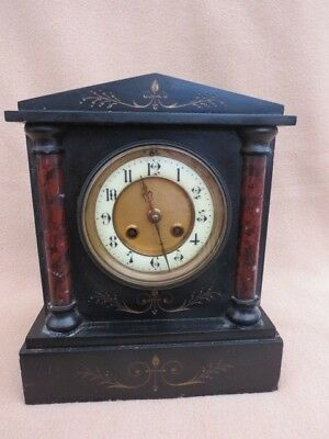 Antique French Black Slate And Marble Striking Clock For Light Tlc