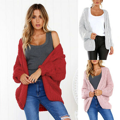 Womens Oversized Batwing Sleeve Knitted Sweater Tops Loose Cardigan Outwear Coat