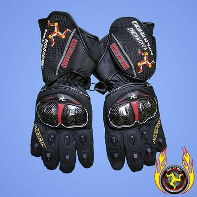 Isle of Man Road Racing Capital of the World Motorcycle Gloves Black