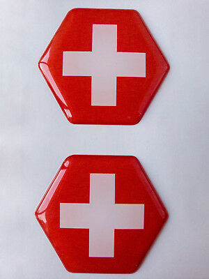 Switzerland Flag Domed Hex Sticker Decal