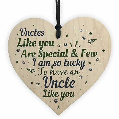 UNCLE Birthday Christmas Gift Wooden Heart Plaque DAD Brother Thank You Gift