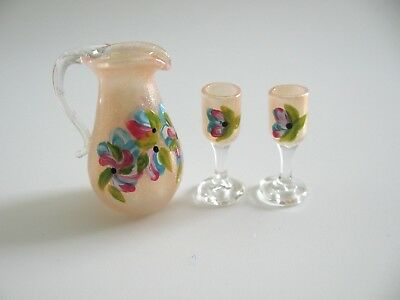 dollhouse doll house miniature  GLASS PITCHER AND GLASSES SET OF 3 PINK