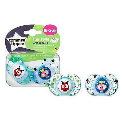 Pack of 2 Tommee Tippee Fun Style Baby Pacifiers Soothers 18-36 Months BPA Free