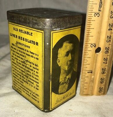 Antique Old Reliable Liver Medicine Tin Litho Can Vintage Cave In Rock Il Remedy