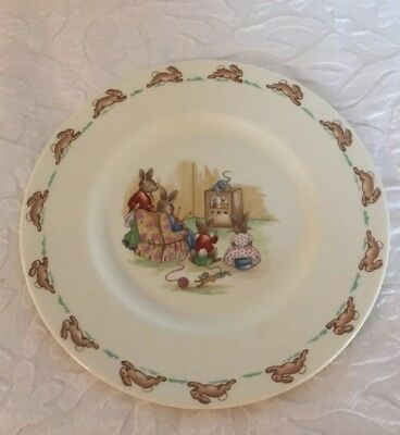 Royal Doulton Bunnykins Plate TV Time 8 in Bunnies Knitting Watching Television