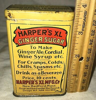 Antique Harpers Xl Ginger Sugar Cold Cramp Medicine Tin Litho Can New Bedford Ma