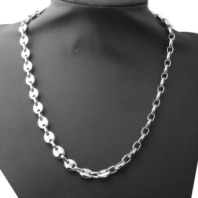 18K IP White Gold Plated Gunmetal Stainless Steel Rope Chain Link Mens Necklace