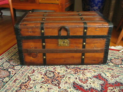 Antique Jenny Lind Wooden Chest Trunk steamer
