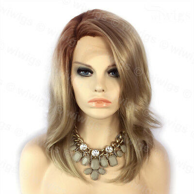 Wiwigs Ombre 2 Tones Lace Front Wig Straight Brown Roots Medium Blonde Hair