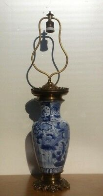 Huge Antique Chinese Vase Blue White Lamp Porcelain  Birds