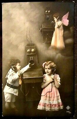 RPPC Antique WALL TELEPHONE, Boy & Girl Phone ANGEL in Sky, REAL PHOTO pc 1912
