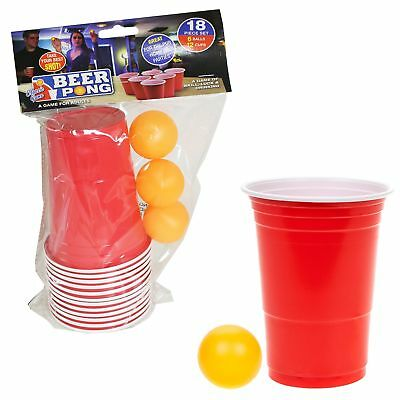 18 Piece Beer Pong Set Adult Drinking Game - Over 18's - Christmas Gift