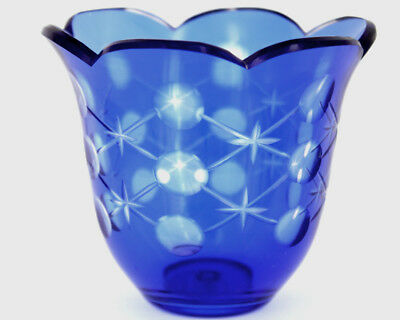 Vintage Cobalt Blue Bohemian Cut To Clear Czech Crystal Vase