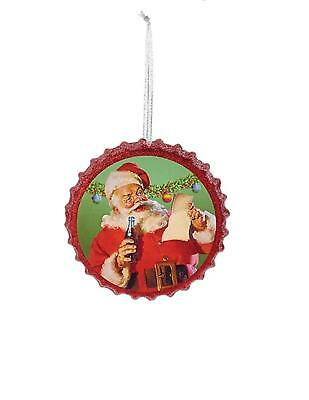 "Kurt Adler 4.25"" Red Coca Cola Santa Reading List Bottle Cap Christmas Ornament"