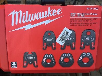 Milwaukee M18 1/2 in. - 2 in. Black Iron Press Tool Jaw Kit New In Box