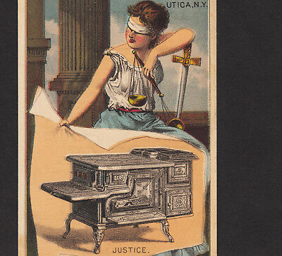 Blindfolded Lady Justice 1800's Peckham Stove Utica NY Scale Sword Ad Trade Card