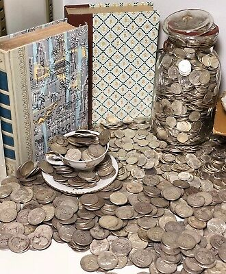 Old Silver Us Coins Vintage Barber Dimes Mercury Estate Sale Collection Currency