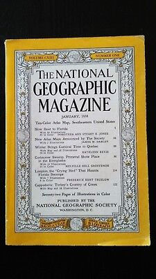 Vintage The National Geographic Magazine Jan 1958 Original  Atlas Map Included