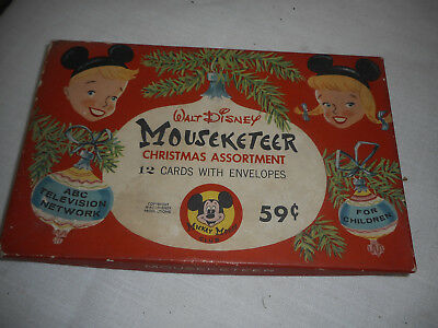 Vintage 1950's Walt Disney Mouseketeer Christmas Cards - BOX ONLY - Gibson