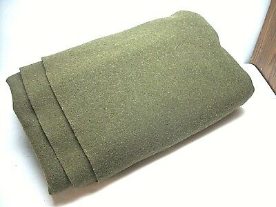 Vintage US Army Issue OD Green Wool Blanket 62 x 81  Military US marked