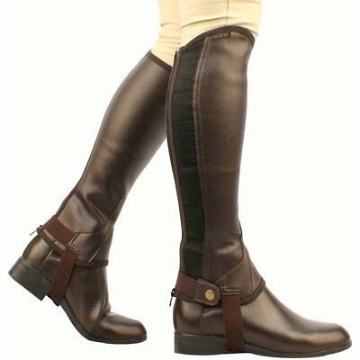 Saxon Equileather Half Unisex Footwear Chaps - Brown All Sizes