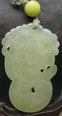 Antique Chinese White Jade Pendant with Catfish Motif and Green Jade Bead