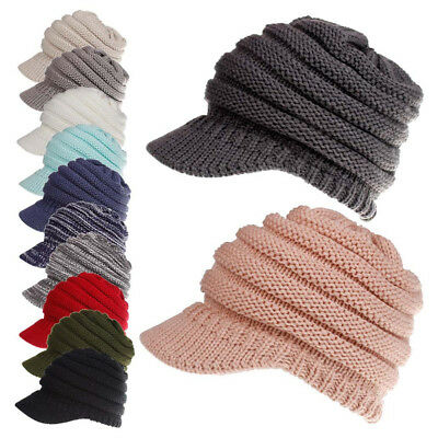 Women's Ponytail Beanie Cap Winter Soft Stretch Cable Knit High Bun Warm Hat