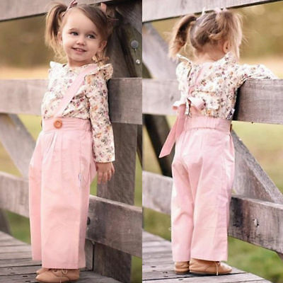 2PCS Toddler Infant Kids Baby Girls Outfits Clothes Set T-shirt Tops+Strap Pants