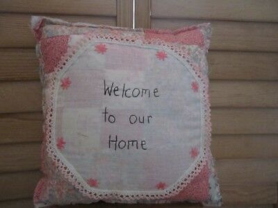Primitive Quilted pillow - pastels - vintage linen -stitched Welcome to our Home